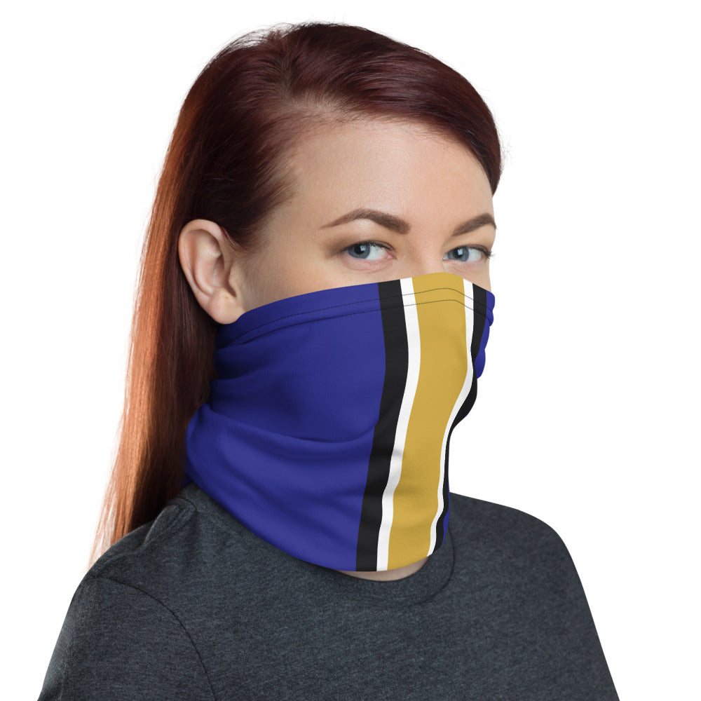Load image into Gallery viewer, Baltimore Ravens Style Neck Gaiter as Face Mask on Woman Right