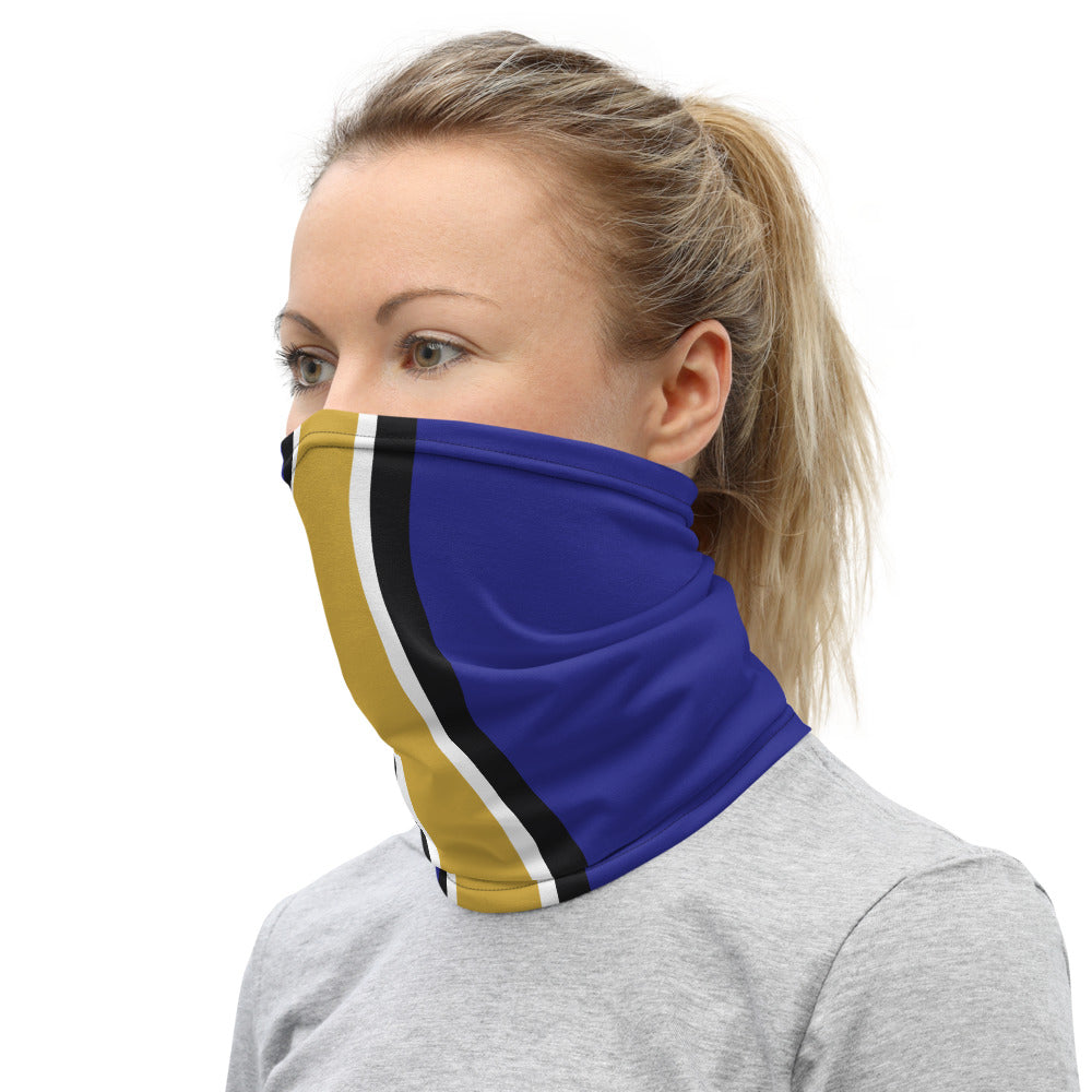 Baltimore Ravens Style Neck Gaiter as Face Mask on Woman Left