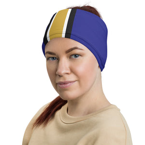 Baltimore Ravens Style Neck Gaiter as Head Band on Woman Left