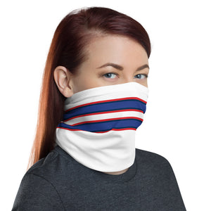 Buffalo Bills Style Neck Gaiter as Face Mask on Woman Right