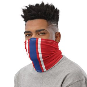 Buffalo Bills Style Neck Gaiter as Face Mask on Man Left