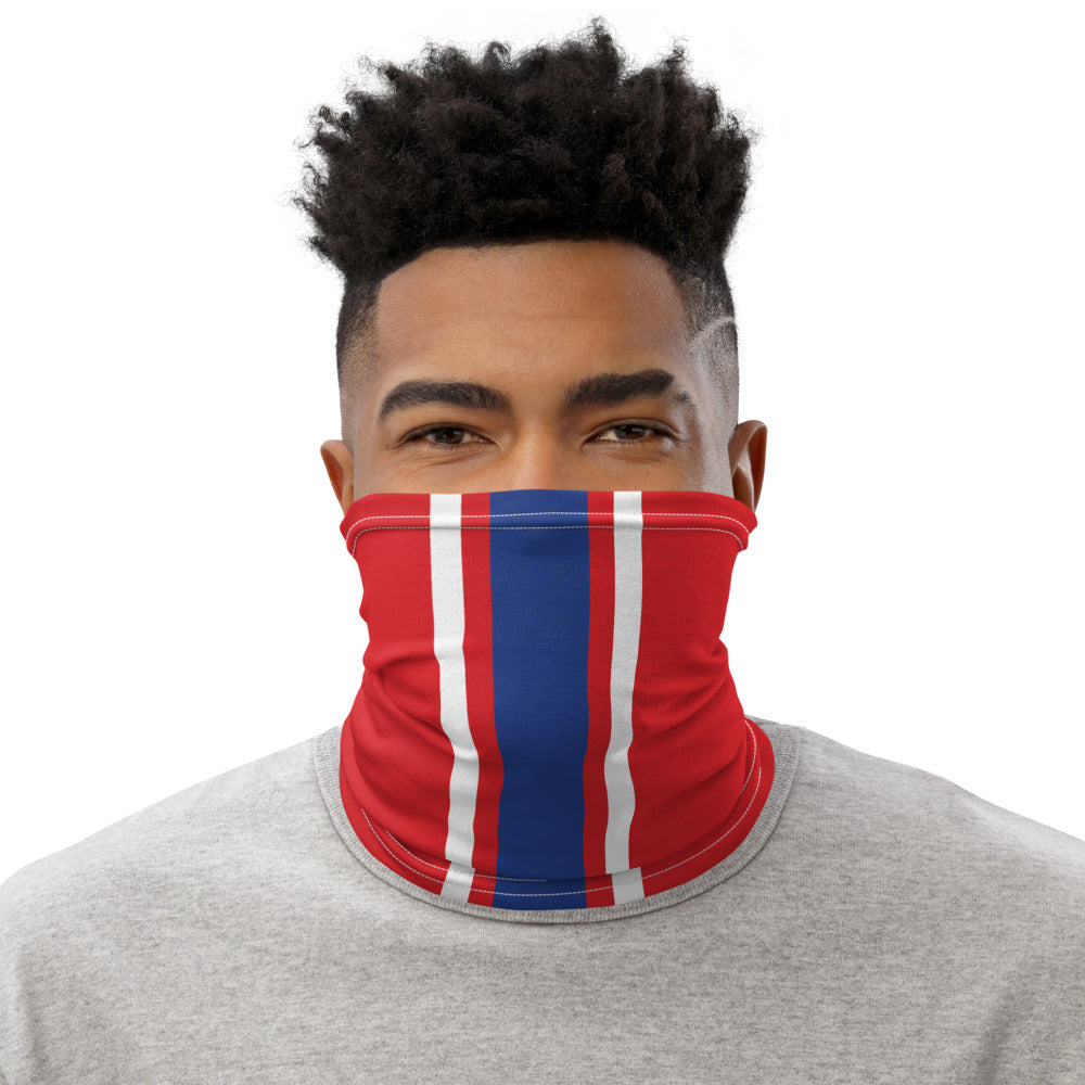 Buffalo Bills Style Neck Gaiter as Face Mask on Man