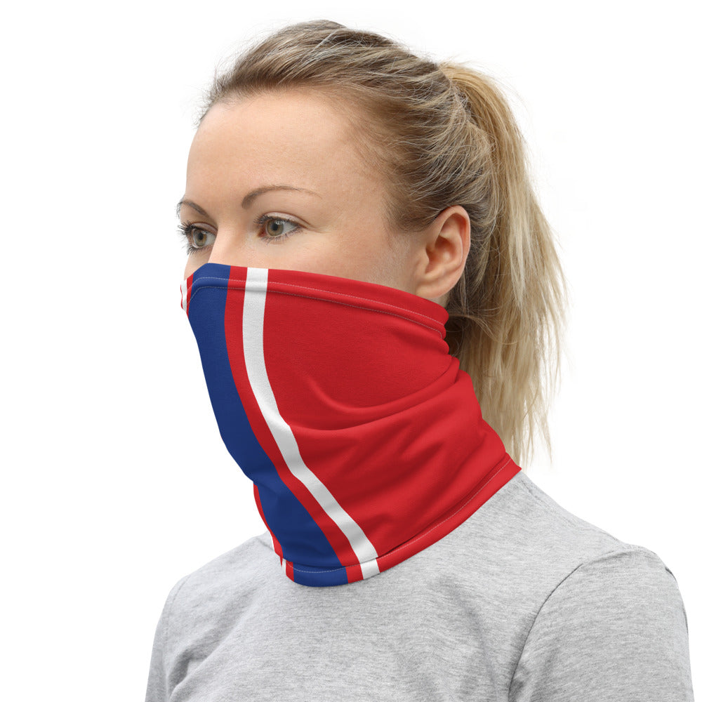 Buffalo Bills Style Neck Gaiter as Face Mask on Woman Left