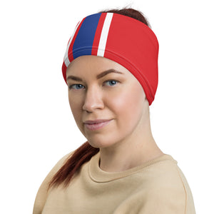Buffalo Bills Style Neck Gaiter as Head Band on Woman Left