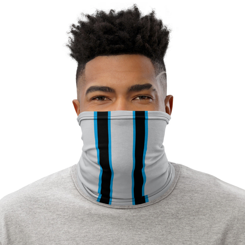 Carolina Panthers Style Neck Gaiter as Face Mask on Man