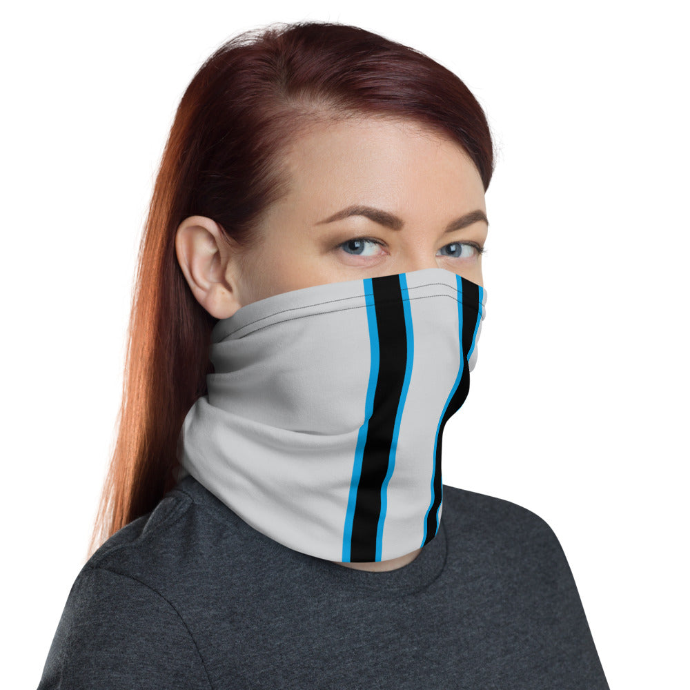 Carolina Panthers Style Neck Gaiter as Face Mask on Woman Right