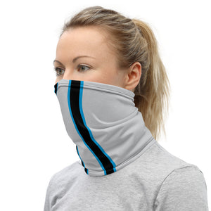 Carolina Panthers Style Neck Gaiter as Face Mask on Woman Left