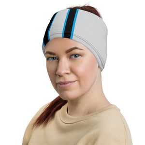 Carolina Panthers Style Neck Gaiter as Head Band on Woman Left