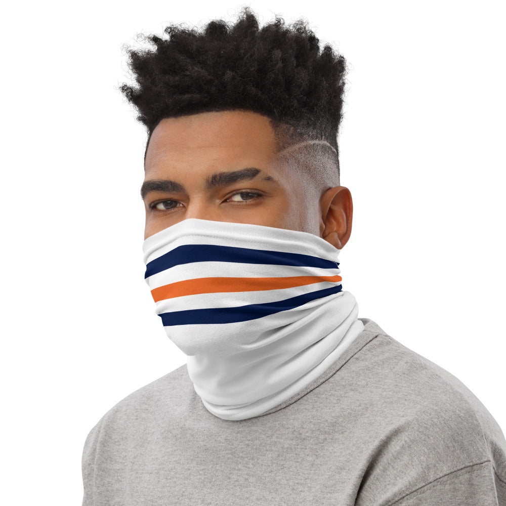 Chicago Bears Style Neck Gaiter as Face Mask on Man Left