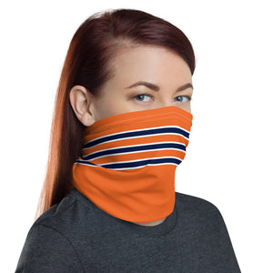 Chicago Bears Style Neck Gaiter as Face Mask on Woman Right