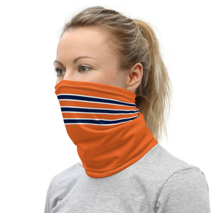 Chicago Bears Style Neck Gaiter as Face Mask on Woman Left
