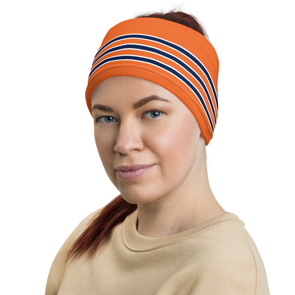 Chicago Bears Style Neck Gaiter as Head Band on Woman Left