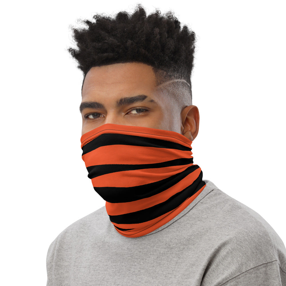 Cincinnati Bengals Style Neck Gaiter as Face Mask on Man Left