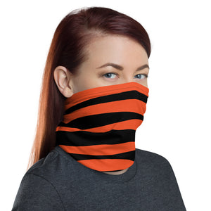 Cincinnati Bengals Style Neck Gaiter as Face Mask on Woman Right