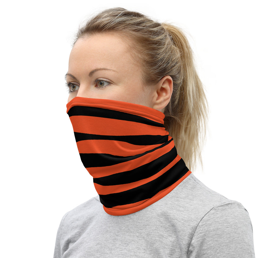 Cincinnati Bengals Style Neck Gaiter as Face Mask on Woman Left
