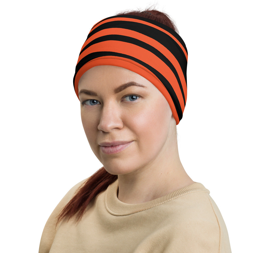 Cincinnati Bengals Style Neck Gaiter as Head Band on Woman Left