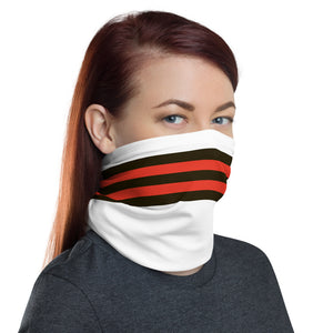 Cleveland Browns Style Neck Gaiter as Face Mask on Woman Right