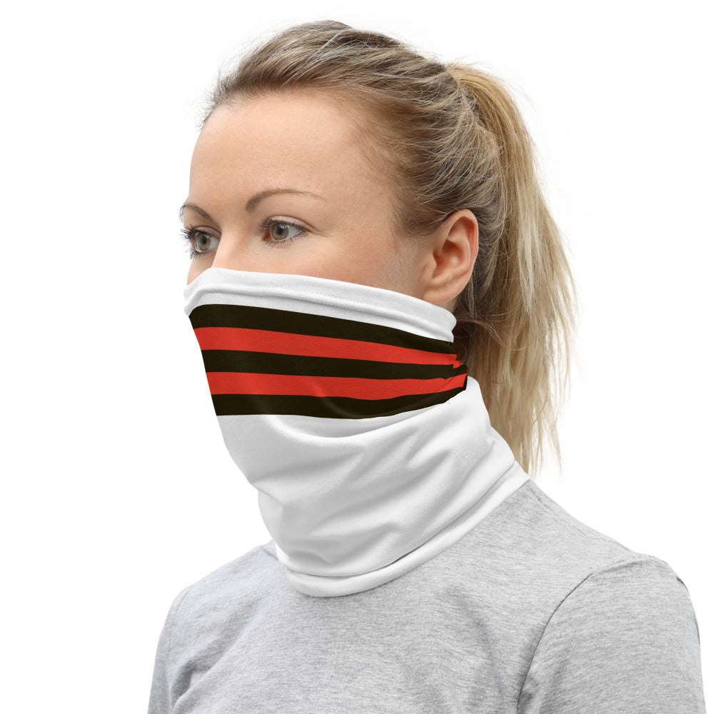 Cleveland Browns Style Neck Gaiter as Face Mask on Woman Left