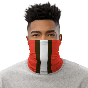 Cleveland Browns Style Neck Gaiter as Face Mask on Man