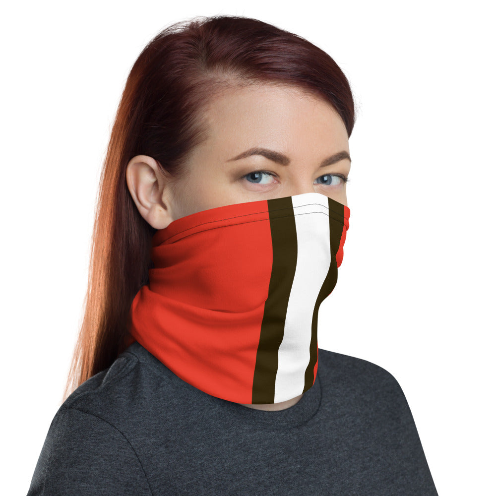 Cleveland Browns Style Neck Gaiter as Face Mask on Woman