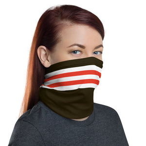 Load image into Gallery viewer, Cleveland Browns Style Neck Gaiter as Face Mask on Woman Right
