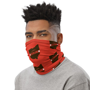 Cleveland Browns Style Neck Gaiter as Face Mask on Man Left