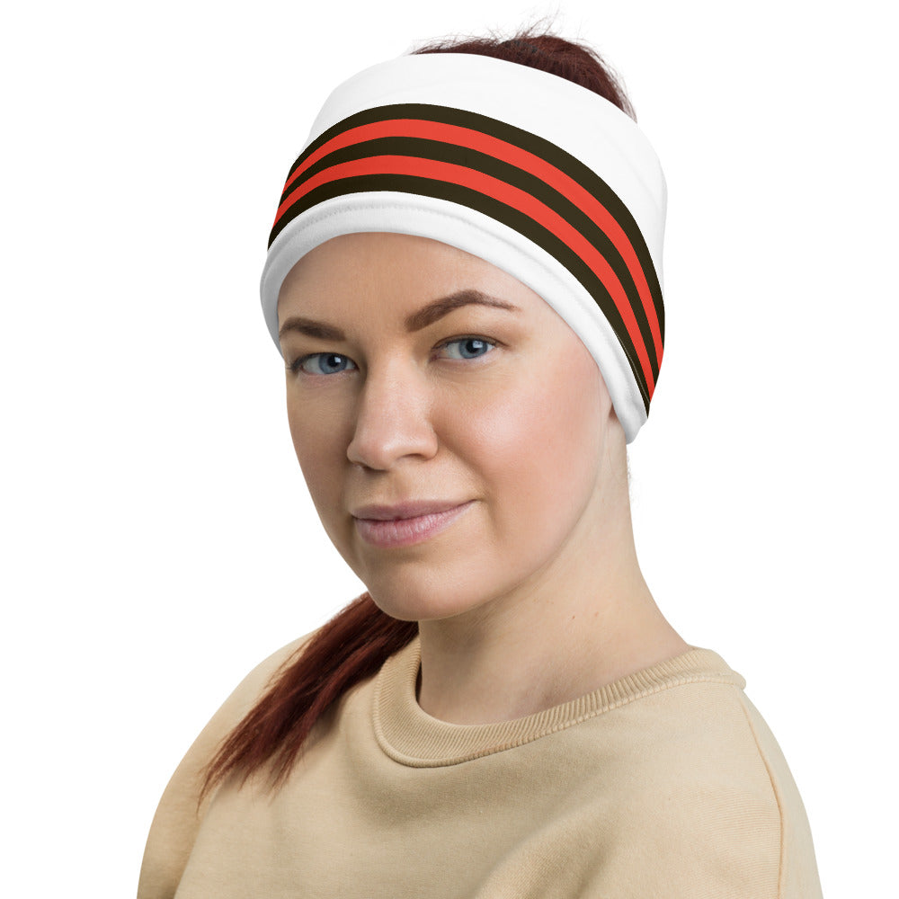 Cleveland Browns Style Neck Gaiter as Head Band on Woman Left