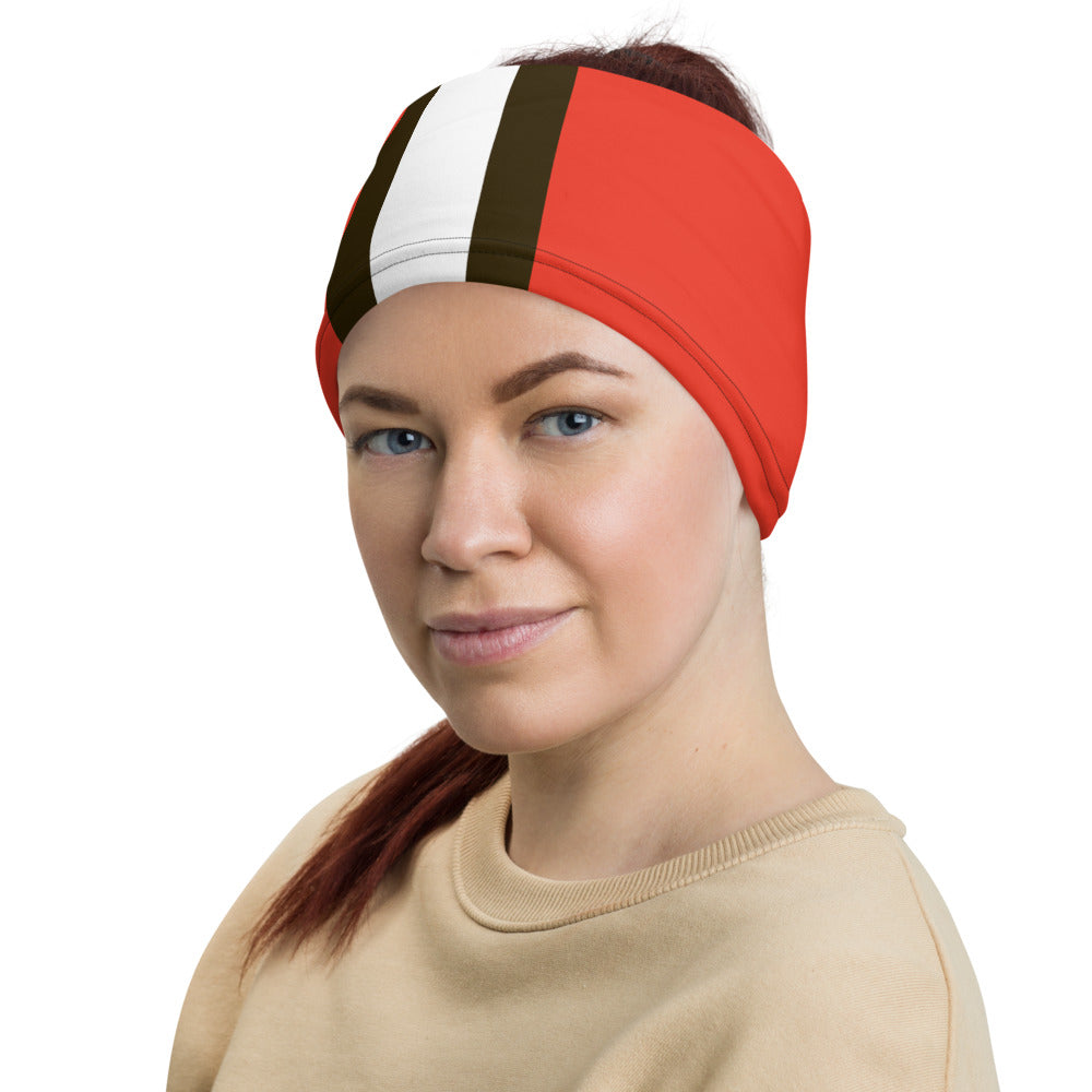 Cleveland Browns Style Neck Gaiter as Headband on Woman