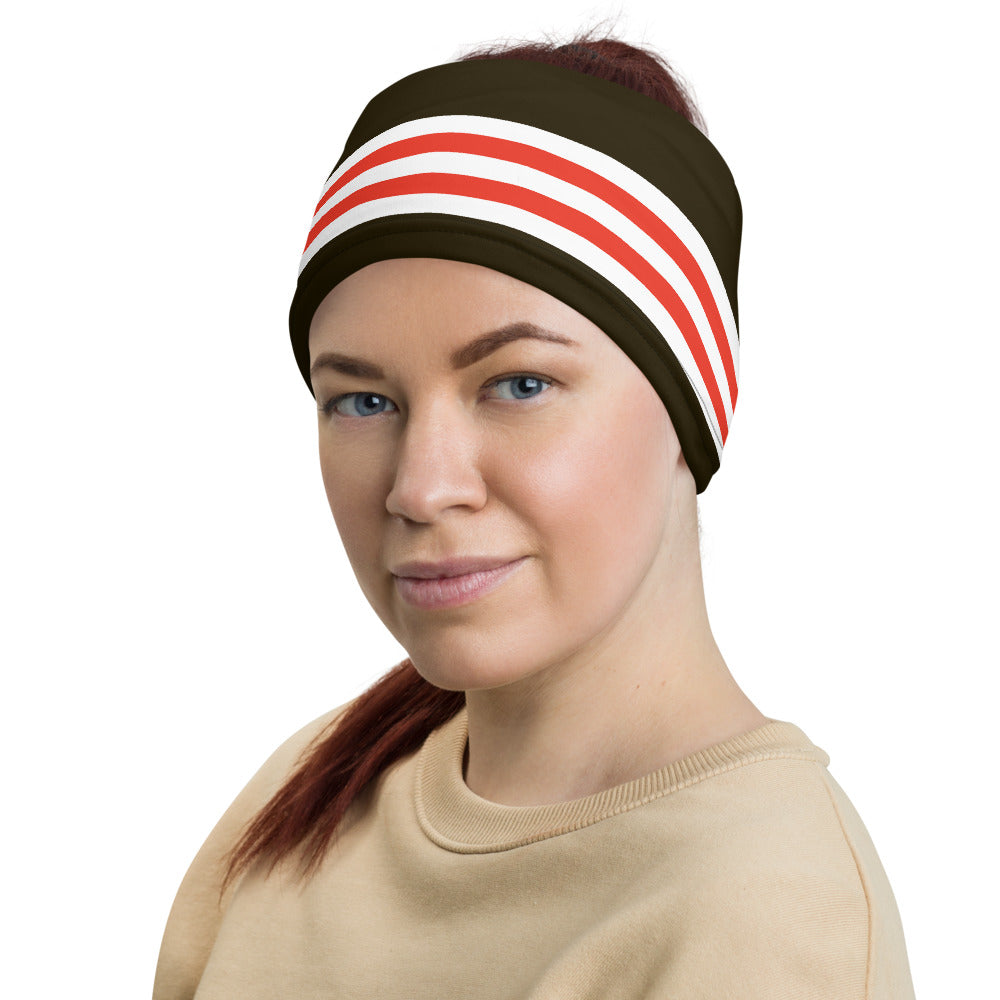Load image into Gallery viewer, Cleveland Browns Style Neck Gaiter as Head Band on Woman Left