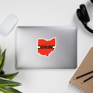 Cleveland Browns Style Sticker on Laptop