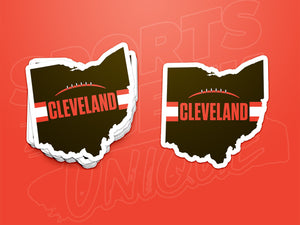 Stack of Brown Cleveland Football Ohio Stickers