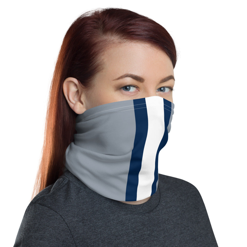 Dallas Cowboys Style Neck Gaiter Tube as Face Mask on Woman Right