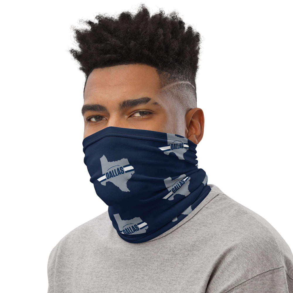 Dallas Cowboys Style Neck Gaiter as Face Mask on Man Left
