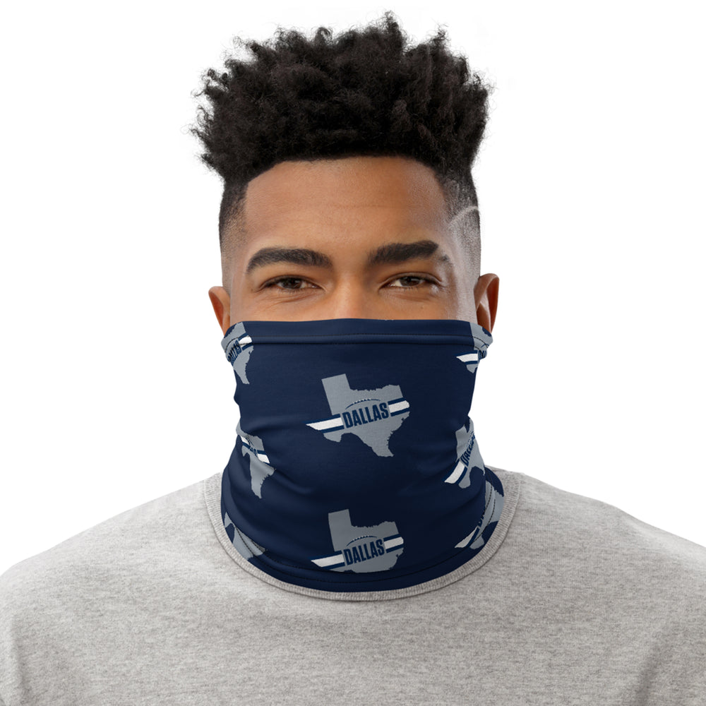 Dallas Cowboys Style Neck Gaiter as Face Mask on Man