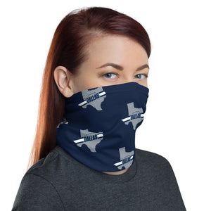 Dallas Cowboys Style Neck Gaiter as Face Mask on Woman Right