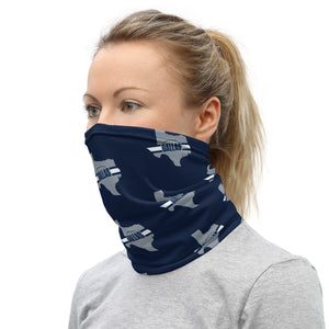 Dallas Cowboys Style Neck Gaiter as Face Mask on Woman Left