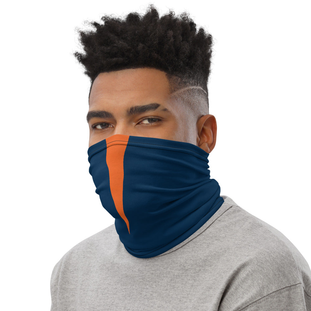 Denver Broncos Style Neck Gaiter as Face Mask on Man Left