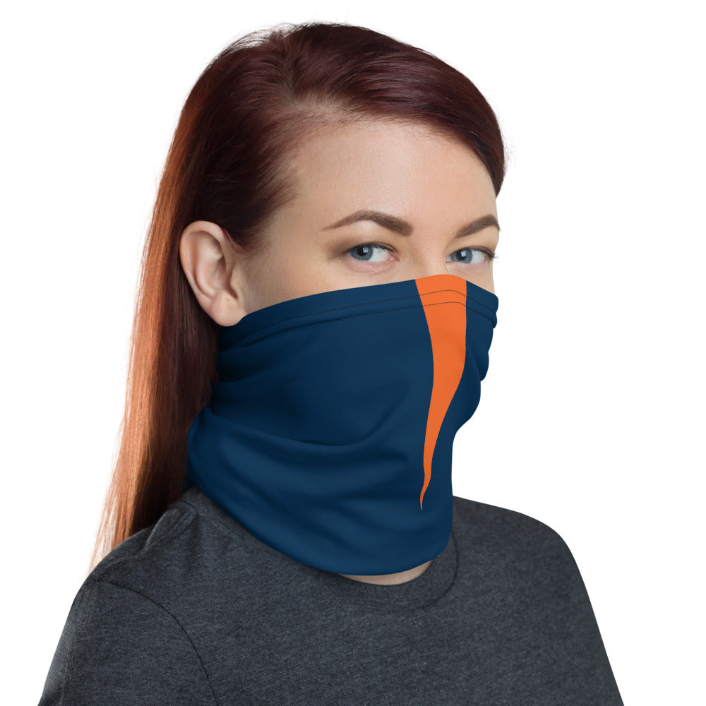 Denver Broncos Style Neck Gaiter as Face Mask on Woman Right