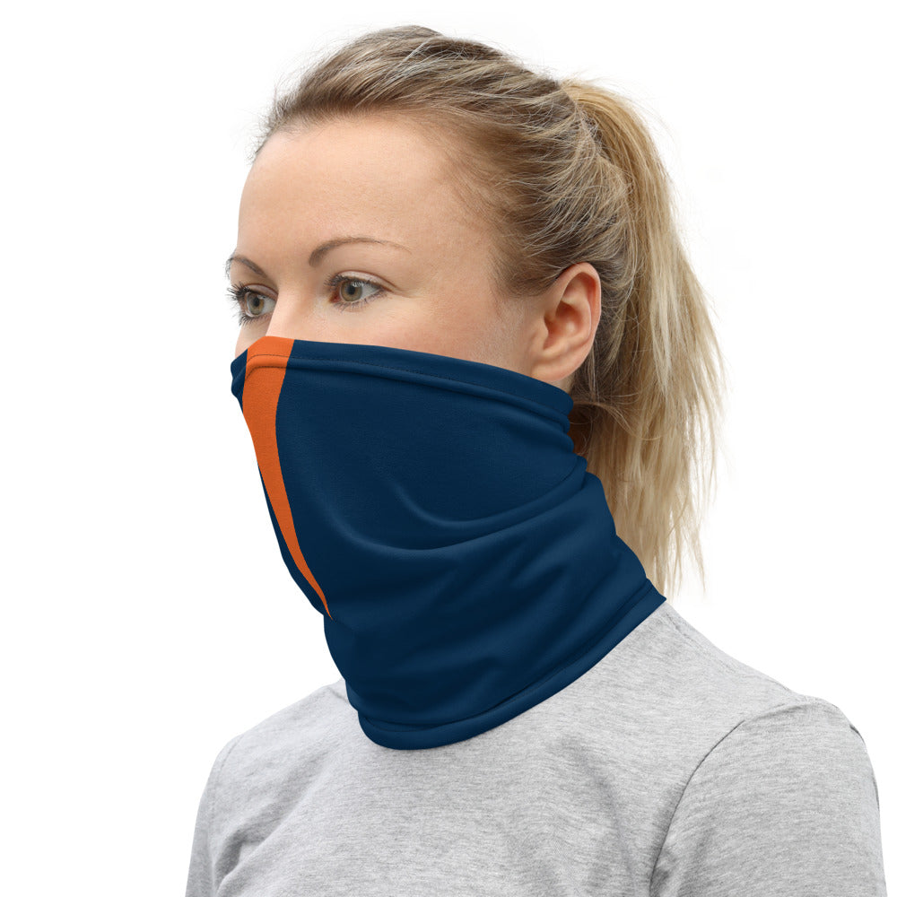 Denver Broncos Style Neck Gaiter as Face Mask on Woman Left