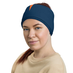 Denver Broncos Style Neck Gaiter as Head Band on Woman Left
