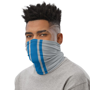 Detroit Lions Style Neck Gaiter as Face Mask on Man Left