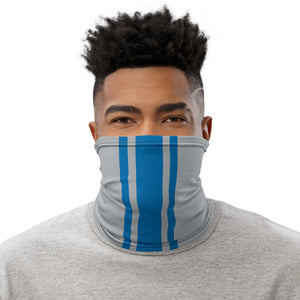 Detroit Lions Style Neck Gaiter as Face Mask on Man