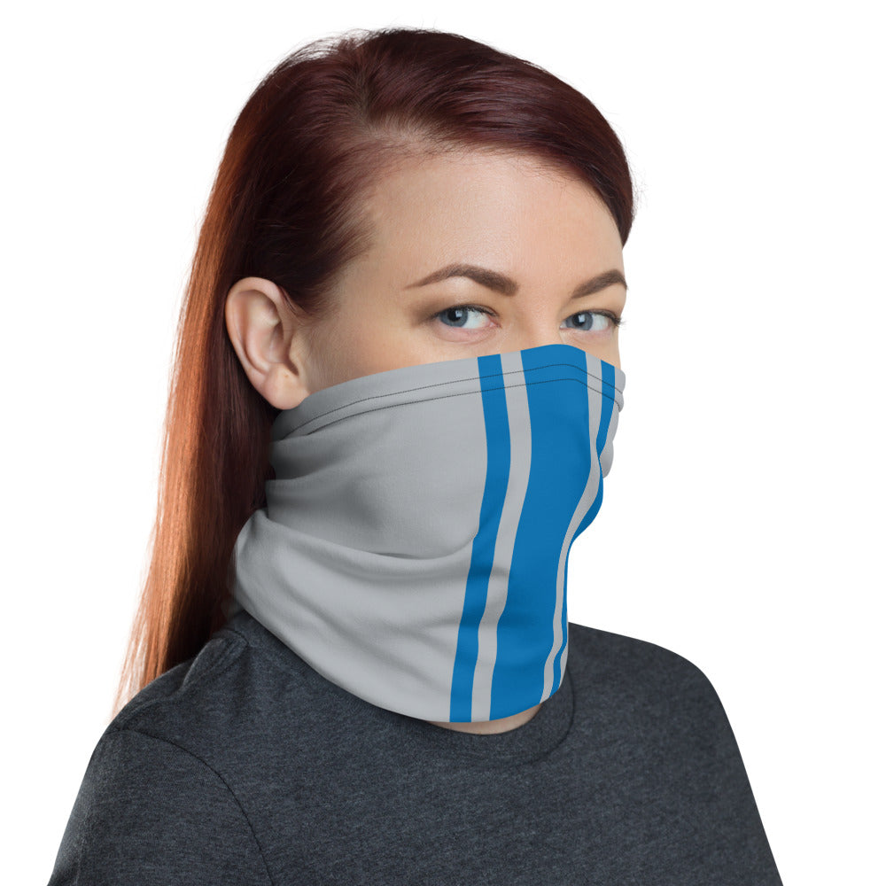 Detroit Lions Style Neck Gaiter as Face Mask on Woman Right