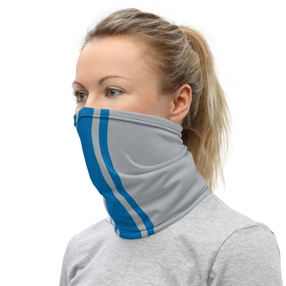 Detroit Lions Style Neck Gaiter as Face Mask on Woman Left