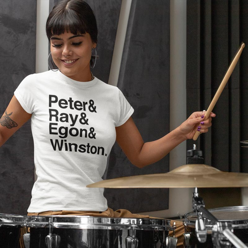 Woman wearing white Ghostbusters t-shirt playing the drums