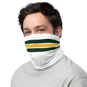 Green Bay Packers Style Neck Gaiter as Face Mask on Man Left