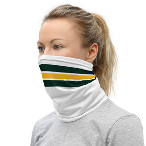 Green Bay Packers Style Neck Gaiter as Face Mask on Woman Left