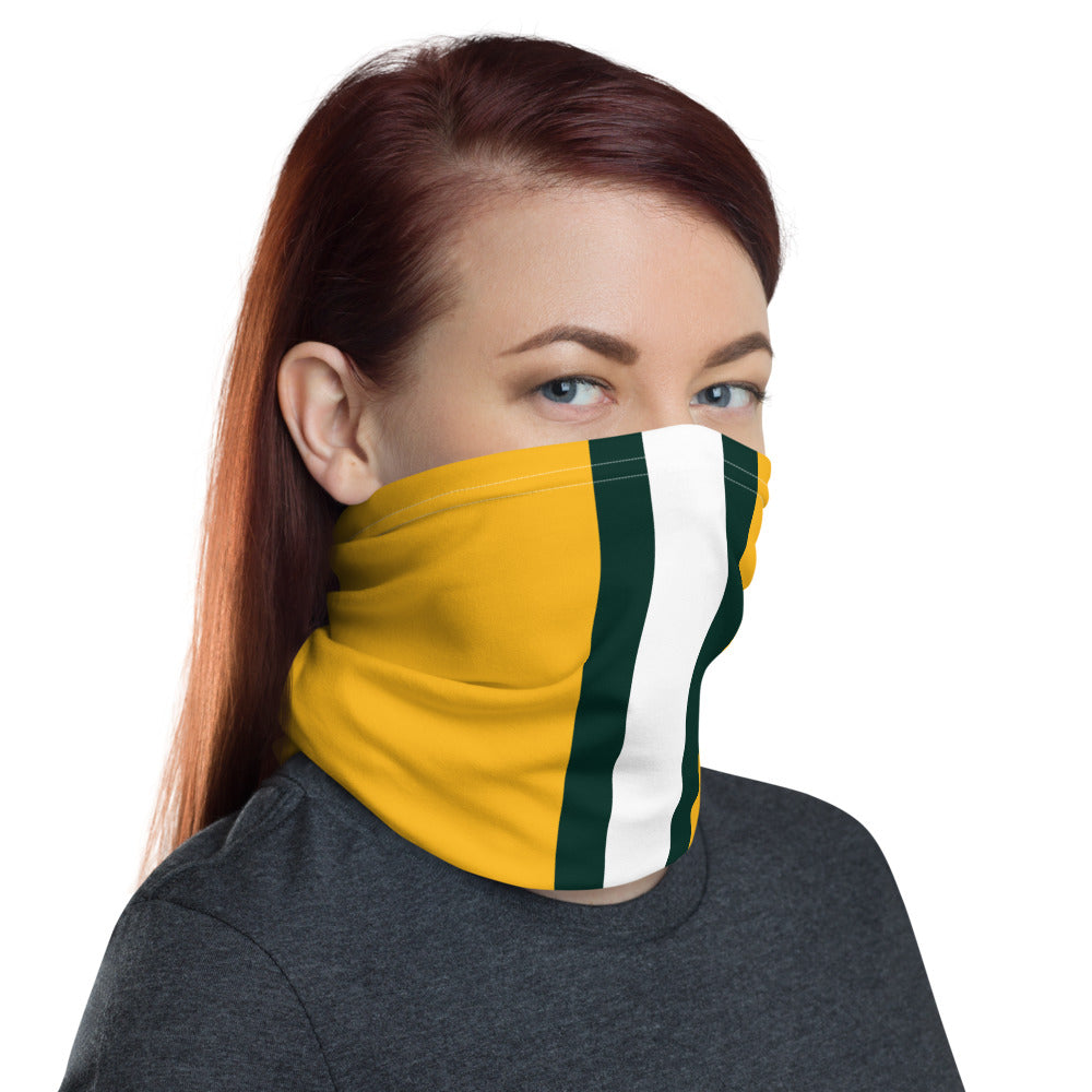 Green Bay Packers Style Neck Gaiter as Face Mask on Woman