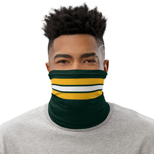 Green Bay Packers Style Neck Gaiter as Face Mask on Man