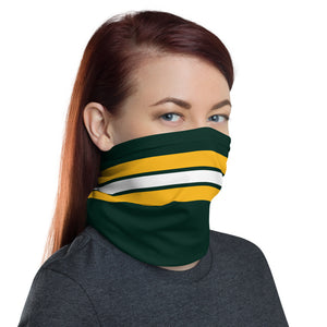 Green Bay Packers Style Neck Gaiter as Face Mask on Woman Right